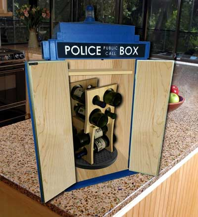 The inside of the TARDIS wine cabinet