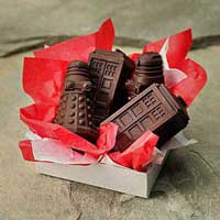Chocolates made from the TARDIS and Dalek molds